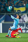 Jiangsu FC Forward Roger Beyker Martinez (L) fights for the ball with Adelaide United Defender Michael Marrone (R) during the AFC Champions League 2017 Group H match between Jiangsu FC (CHN) vs Adelaide United (AUS) at the Nanjing Olympics Sports Center on 01 March 2017 in Nanjing, China. Photo by Marcio Rodrigo Machado / Power Sport Images