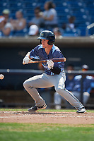 West Michigan Whitecaps center fielder Brock Deatherage (19) squares around to bunt during a game against the Quad Cities River Bandits on July 23, 2018 at Modern Woodmen Park in Davenport, Iowa.  Quad Cities defeated West Michigan 7-4.  (Mike Janes/Four Seam Images)