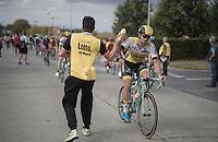 Tom Van Asbroeck (BEL/LottoNL-Jumbo) in the feed zone being handed a bidon<br /> <br /> 101st Kampioenschap van Vlaanderen 2016 (UCI 1.1)<br /> Koolskamp › Koolskamp (192.4km)