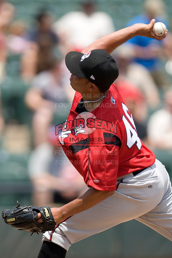 Nashville Sounds pitcher Amaury Rivas #46 delivers against the Round Rock Express in Pacific Coast League baseball on May 9, 2011 at the Dell Diamond in Round Rock, Texas. (Photo by Andrew Woolley / Four Seam Images)