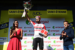 Thomas De Gendt (BEL) Lotto-Soudal wins Stage 8, and also the day's combativity prize presented by triathlete Denis Chevrot, of the 2019 Tour de France running 200km from Macon to Saint-Etienne, France. 13th July 2019.<br /> Picture: ASO/Alex Broadway   Cyclefile<br /> All photos usage must carry mandatory copyright credit (© Cyclefile   ASO/Alex Broadway)