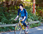 Ian riding his bike at the ravine.