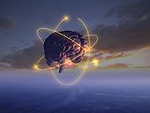 Brain in sky w/ swirling electrons