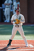 Dominic Pilolli (22) of the Charlotte 49ers at bat against the Old Dominion Monarchs at Hayes Stadium on April 25, 2021 in Charlotte, North Carolina. (Brian Westerholt/Four Seam Images)