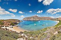 The circular bay of Fellos beach in Andros island, Greece