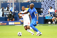 KANSASCITY, KS - JULY 11: Jean-Sylvain Babin #6 of Martinique with the ball during a game between Canada and Martinique at Children's Mercy Park on July 11, 2021 in KansasCity, Kansas.