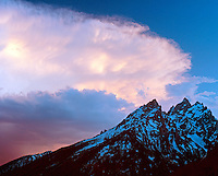 Storm clouds over the Cathedral Group, Grand Teton National Park, Wyoming