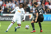Renato Sanches of Swansea City is marked by Jesus Gamez of Newcastle United during the Premier League match between Swansea City and Newcastle United at The Liberty Stadium, Swansea, Wales, UK. Sunday 10 September 2017