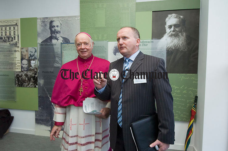Archbishop Dermot Clifford is shown around the new Michael Cusack Centre by Martin O Loghlen, chairman of the Michael Cusack Development Company. Photograph by John Kelly.