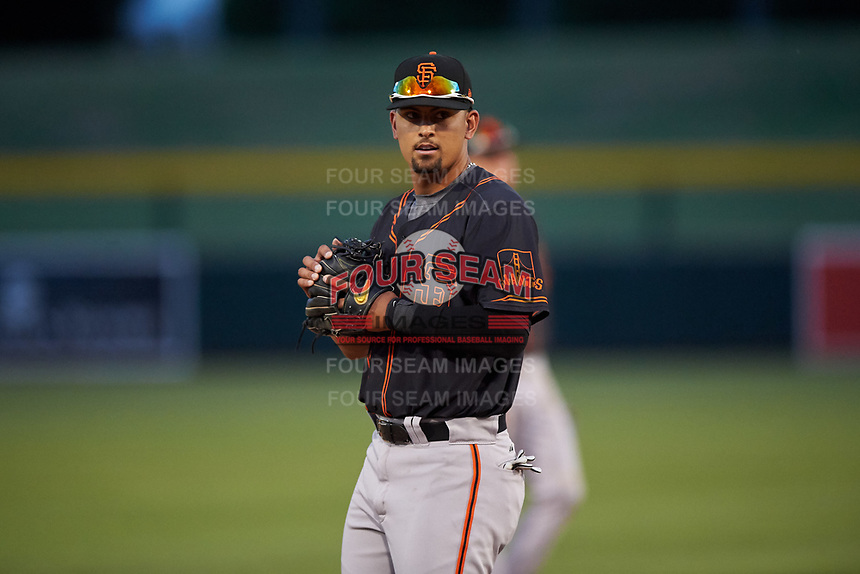 AZL Giants Black third baseman Carter Aldrete (7) during an Arizona League game against the AZL Athletics Gold on July 12, 2019 at Hohokam Stadium in Mesa, Arizona. The AZL Giants Black defeated the AZL Athletics Gold 9-7. (Zachary Lucy/Four Seam Images)