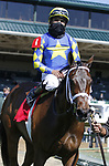 April 03, 2021: Jouster #1 ridden by Luis Saez wins the Appalachian Stakes (Grade 2) on Blue Grass Stakes Day at Keeneland Race Course in Lexington, Kentucky on April 03, 2021. Candice Chavez/Eclipse Sportswire/CSM