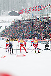 HOLMENKOLLEN, OSLO, NORWAY - March 16: (R-L) Mikko Kokslien of Norway (NOR), Magnus-H. Moan of Norway (NOR), Taylor Fletcher of USA and Christoph Bieler of Austria (AUT) during the cross country 15 km (2 x 7.5 km) competition at the FIS Nordic Combined World Cup on March 16, 2013 in Oslo, Norway. (Photo by Dirk Markgraf)