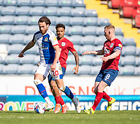 24th April 2021; Ewood Park, Blackburn, Lancashire, England; English Football League Championship Football, Blackburn Rovers versus Huddersfield Town;  Ben Brereton of Blackburn Rovers tracked by  Lewis O'Brien of Huddersfield Town