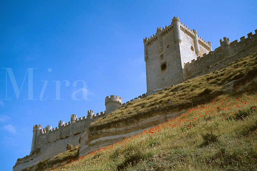 Spain, Castilla y Leon province. Penafiel castle, completed in the 15th century.