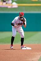 Indianapolis Indians second baseman Jake Elmore (13) during an International League game against the Syracuse Mets on July 17, 2019 at Victory Field in Indianapolis, Indiana.  Syracuse defeated Indianapolis 15-5  (Mike Janes/Four Seam Images)
