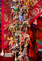 Colorful textile crafts in the El Rastero Market, Madrid, Spain
