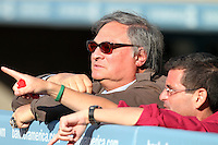 Florida Marlins Owner Jeffrey Loria and team President David Samson talk before game against the Los Angeles Dodgers at Dodger Stadium on May 28, 2011 in Los Angeles,California. Photo by Larry Goren/Four Seam Images