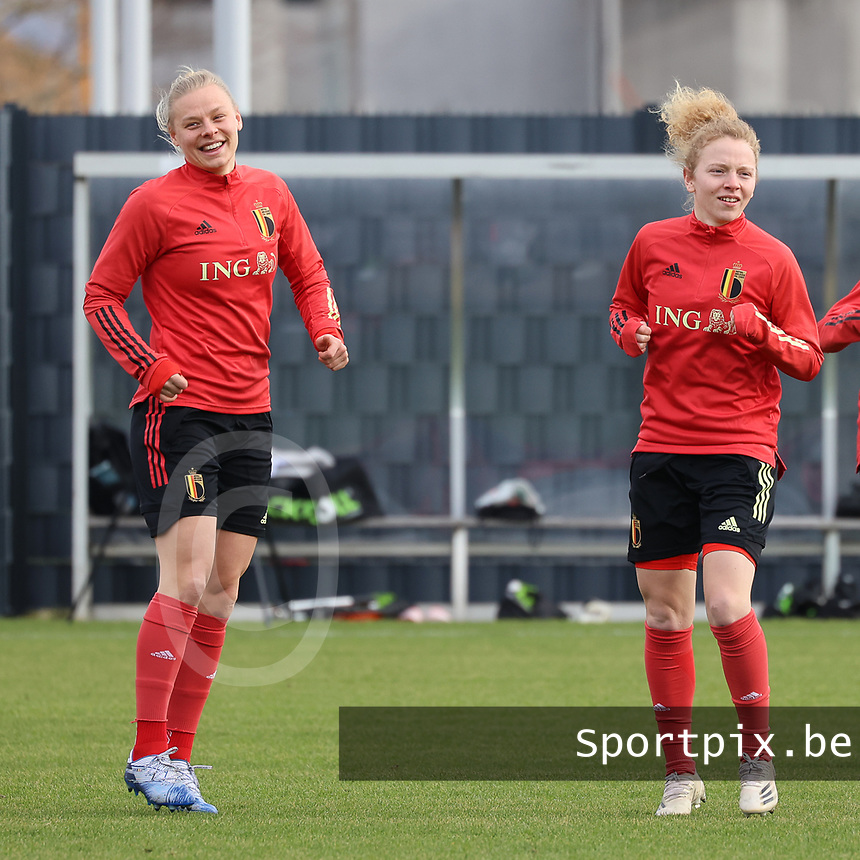 Ella Van Kerkhoven and Charlotte Tison pictured during the training session of the Belgian Women's National Team ahead of a friendly female soccer game between the national teams of Germany and Belgium , called the Red Flames in a pre - bid tournament called Three Nations One Goal with the national teams from Belgium , The Netherlands and Germany towards a bid for the hosting of the 2027 FIFA Women's World Cup ,on 19th of February 2021 at Proximus Basecamp. PHOTO: SEVIL OKTEM | SPORTPIX.BE