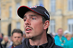 John Degenkolb (GER) Team Giant-Alpecin at the Team Presentations in Compiegne before the 2015 Paris-Roubaix cycle race held over the cobbled roads of Northern France. 11th April 2015.<br /> Photo: Eoin Clarke www.newsfile.ie