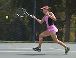 Jana Cepelova (SVK) battles Elena Vesnina (RUS) at the Family Circle Cup in Charleston, South Carolina on April 3, 2014.