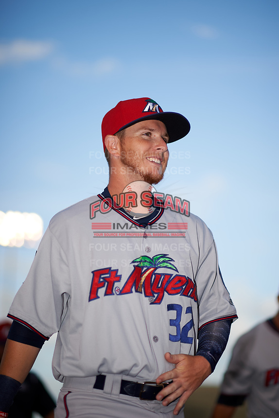 Fort Myers Miracle center fielder Casey Scoggins (32) before a game against the Tampa Yankees on April 12, 2017 at George M. Steinbrenner Field in Tampa, Florida.  Tampa defeated Fort Myers 3-2.  (Mike Janes/Four Seam Images)