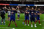 Atletico de Madrid's Lucas Hernandez and Diego Godin celebrates the Super Cup Tittle after La Liga match. August 25, 2018. (ALTERPHOTOS/A. Perez Meca)