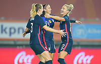 BREDA, NETHERLANDS - NOVEMBER 27: Kristie Mewis #22 of the United States scores a goal and celebrates with her sister Samantha Mewis #3 and teammate Alex Morgan #13 during a game between Netherlands and USWNT at Rat Verlegh Stadion on November 27, 2020 in Breda, Netherlands.