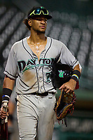 Dayton Dragons outfielder Allan Cerda (24) after a game against the Fort Wayne TinCaps on August 25, 2021 at Parkview Field in Fort Wayne, Indiana.  (Mike Janes/Four Seam Images)