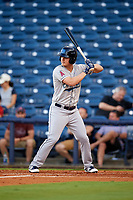 Mobile BayBears right fielder Brendon Sanger (2) at bat during a game against the Mississippi Braves on May 7, 2018 at Trustmark Park in Pearl, Mississippi.  Mobile defeated Mississippi 5-0.  (Mike Janes/Four Seam Images)