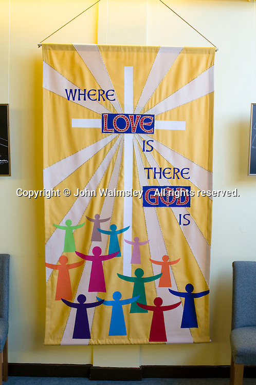 Banner giving an extract from the Scriptures in the school Chapel.  Roman Catholic State secondary school.