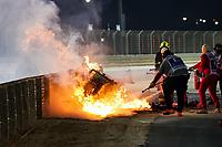 Crash of GROSJEAN Romain (fra), Haas F1 Team VF-20 Ferrari, fire during the Formula 1 Gulf Air Bahrain Grand Prix 2020, from November 27 to 29, 2020 on the Bahrain International Circuit, in Sakhir, Bahrain <br /> Formula 1 Gulf Air Bahrain Grand Prix 29/11/2020<br /> Photo DPPI/Panoramic/Insidefoto <br /> ITALY ONLY