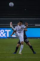 SAN JOSE, CA - SEPTEMBER 13: Efrain Alvarez #26 of the Los Angeles Galaxy during a game between Los Angeles Galaxy and San Jose Earthquakes at Earthquakes Stadium on September 13, 2020 in San Jose, California.
