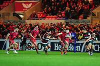 Steff Evans of Scarlets in action during the Heineken Champions Cup round 5 match between the Scarlets and Leicester Tigers at the Parc Y Scarlets Stadium in Llanelli, Wales, UK. Saturday 12th January 2019