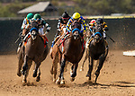 AUGUST 08, 2021: Montebello (gold cap) with Abel Cedillo aboard wins a maiden race at Del Mar Fairgrounds in Del Mar, California on August 08, 2021. Evers/Eclipse Sportswire/CSM