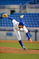 Dunedin Blue Jays pitcher Evan Crawford #47 during a game against the Tampa Yankees on April 11, 2013 at Florida Auto Exchange Stadium in Dunedin, Florida.  Dunedin defeated Tampa 3-2 in 11 innings.  (Mike Janes/Four Seam Images)