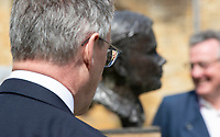 BNPS.co.uk (01202) 558833. <br /> Pic: CorinMesser/BNPS<br /> <br /> Pictured: Turing's nephew and fellow Sherborne School alumni, author Sir John Dermot Turing, left and sculptor David Williams-Ellis with the bust. <br /> <br /> A magnificent bronze bust of Enigma codebreaker Alan Turing has today gone on display at his former school.<br /> <br /> The bust, which is just over life size, stands on a plinth at Sherborne School in Dorset, where the genius mathematician and father of computer science was a pupil from 1926 to 1931.<br /> <br /> It was unveiled by Turing's nephew and fellow Sherborne School alumni, author Sir John Dermot Turing.<br /> <br /> During the Second World War Turing worked for the Government Code and Cypher School (GC&CS) at Bletchley Park, Bucks, Britain's code-breaking centre. He played a pivotal role in cracking the German Enigma code that enabled the Allies to defeat the Nazis in many crucial battles.<br /> <br /> The bust has been fashioned by acclaimed sculptor David Williams-Ellis, who has previously commemorated the D-Day landings in sculpture for the Normandy Memorial Trust.