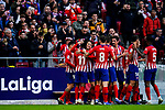 Nikola Kalinic of Atletico de Madrid celebrates scoring the team's goal with teammates during the La Liga 2018-19 match between Atletico de Madrid and Deportivo Alaves at Wanda Metropolitano on December 08 2018 in Madrid, Spain. Photo by Diego Souto / Power Sport Images