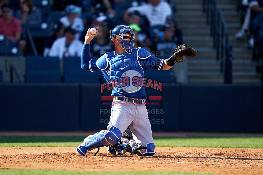 Toronto Blue Jays catcher Caleb Joseph (7) during a Spring Training game against the New York Yankees on February 22, 2020 at the George M. Steinbrenner Field in Tampa, Florida.  (Mike Janes/Four Seam Images)
