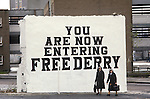 Derry Londonderry Northern Ireland The Troubles 1981. You are Now Entering Free Derry  wall sign painting. Known as Free Derry Corner, situated at the junction of Fahan Street & Rossville Street.