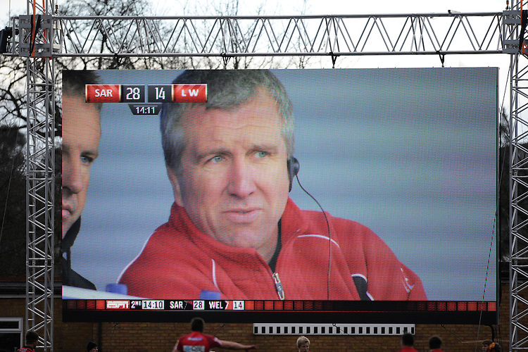 20130303 Copyright onEdition 2013©.Free for editorial use image, please credit: onEdition..Lyn Jones, London Welsh Head Coach, on the large screen during the Premiership Rugby match between Saracens and London Welsh at Allianz Park on Sunday 3rd March 2013 (Photo by Rob Munro)..For press contacts contact: Sam Feasey at brandRapport on M: +44 (0)7717 757114 E: SFeasey@brand-rapport.com..If you require a higher resolution image or you have any other onEdition photographic enquiries, please contact onEdition on 0845 900 2 900 or email info@onEdition.com.This image is copyright onEdition 2013©..This image has been supplied by onEdition and must be credited onEdition. The author is asserting his full Moral rights in relation to the publication of this image. Rights for onward transmission of any image or file is not granted or implied. Changing or deleting Copyright information is illegal as specified in the Copyright, Design and Patents Act 1988. If you are in any way unsure of your right to publish this image please contact onEdition on 0845 900 2 900 or email info@onEdition.com
