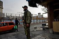 """Gaza city, Jan 23 2009.The Gaza """"PLO Flag"""" souvenir shop..."""