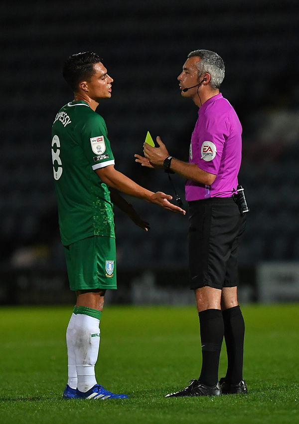 Sheffield Wednesday's Joey Pelupessy pleads with the referee before being yellow carded<br /> <br /> Photographer Dave Howarth/CameraSport<br /> <br /> Carabao Cup Second Round Northern Section - Rochdale v Sheffield Wednesday - Tuesday 15th September 2020 - Spotland Stadium - Rochdale<br />  <br /> World Copyright © 2020 CameraSport. All rights reserved. 43 Linden Ave. Countesthorpe. Leicester. England. LE8 5PG - Tel: +44 (0) 116 277 4147 - admin@camerasport.com - www.camerasport.com
