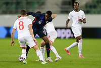 ST. GALLEN, SWITZERLAND - MAY 30: Jordan Siebatcheu #16 of the United States fights for a ball during a game between Switzerland and USMNT at Kybunpark on May 30, 2021 in St. Gallen, Switzerland.