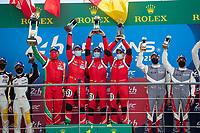#51 AF Corse Ferrari 488 GTE EVO LMGTE Pro, Alessandro Pier Guidi, James Calado, Come Ledogar, 24 Hours of Le Mans , Podium, Circuit des 24 Heures, Le Mans, Pays da Loire, France