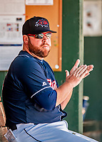 18 July 2018: New Hampshire Fisher Cats Manager John Schneider sits in the dugout during a game against the Trenton Thunder at Northeast Delta Dental Stadium in Manchester, NH. The Thunder defeated the Fisher Cats 3-2 concluding a previous game started April 29. Mandatory Credit: Ed Wolfstein Photo *** RAW (NEF) Image File Available ***