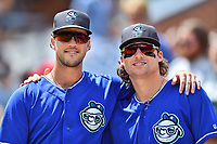 Asheville Tourists left fielder Sean Bouchard and shortstop Ryan Vilade before a game against the Rome Braves at McCormick Field on September 3, 2018 in Asheville, North Carolina. The Tourists defeated the Braves 5-4. (Tony Farlow/Four Seam Images)