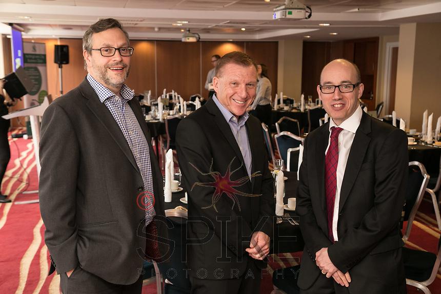Pictured from left are Rob Wallwark of sponsors Buckles Solicitors, speaker John Van de Laarschot and Luke Appleby of Buckles Solicitors