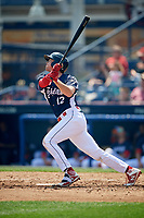 Reading Fightin Phils first baseman Zach Green (12) follows through on a swing during the first game of a doubleheader against the Portland Sea Dogs on May 15, 2018 at FirstEnergy Stadium in Reading, Pennsylvania.  Portland defeated Reading 8-4.  (Mike Janes/Four Seam Images)