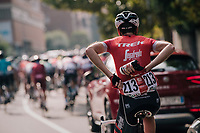 Laurent Didier (LUX/Trek-Segafredo) stacking bidons<br /> <br /> 112th Il Lombardia 2018 (ITA)<br /> from Bergamo to Como: 241km