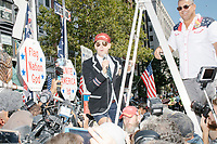 """Alt-right provocateur Milo Yiannopoulos arrives to serve as Grand Marshall of the Straight Pride Parade in Boston, Massachusetts, on Sat., August 31, 2019. Yiannopoulos wore a sequined red hat in the style of Make America Great Again (MAGA) hats reading """"Make America Straight Again."""" Yiannopoulos addressed the crowd with a short speech on arrival and then rode the """"Trump Unity Bridge"""" float for the duration of the parade. Despite leading the Straight Pride Parade and singing along with patriotic American songs throughout the parade, Yiannopoulos is gay and is not an American citizen."""